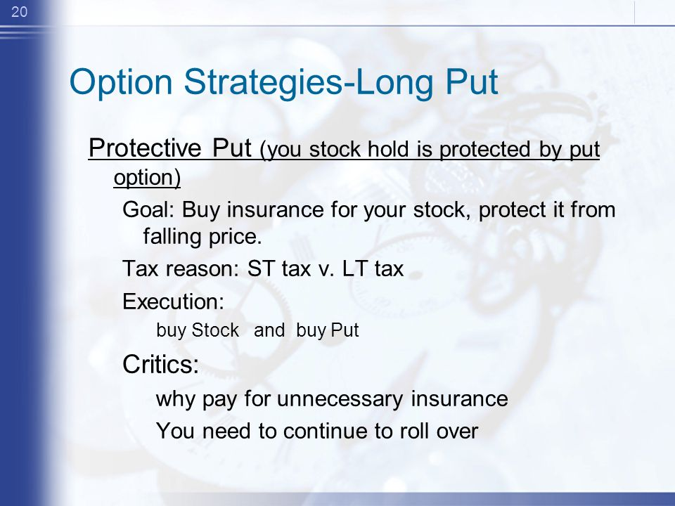 20 Option Strategies-Long Put Protective Put (you stock hold is protected by put option) Goal: Buy insurance for your stock, protect it from falling price.