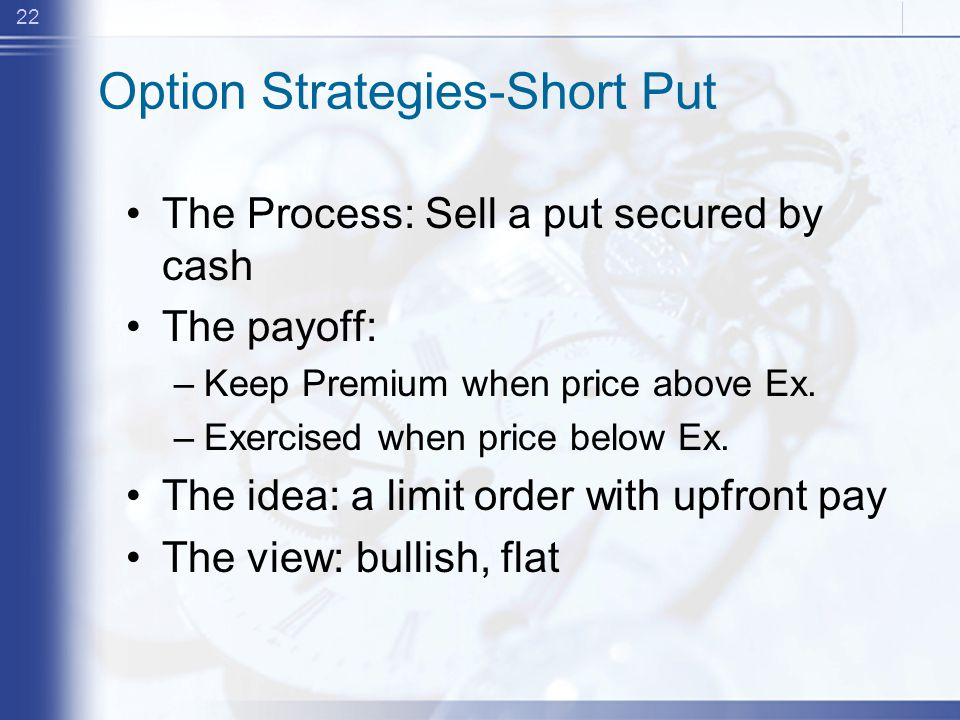 22 Option Strategies-Short Put The Process: Sell a put secured by cash The payoff: –Keep Premium when price above Ex.
