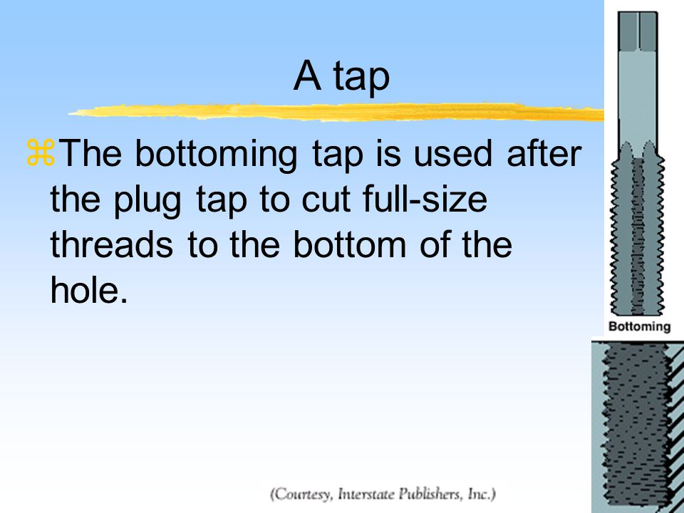 A tap zThe bottoming tap is used after the plug tap to cut full-size threads to the bottom of the hole.