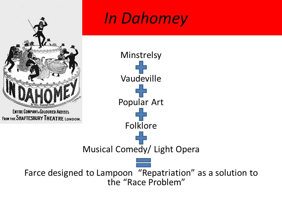 """In Dahomey Minstrelsy Vaudeville Popular Art Folklore Musical Comedy/ Light Opera Farce designed to Lampoon """"Repatriation"""" as a solution to the """"Race"""