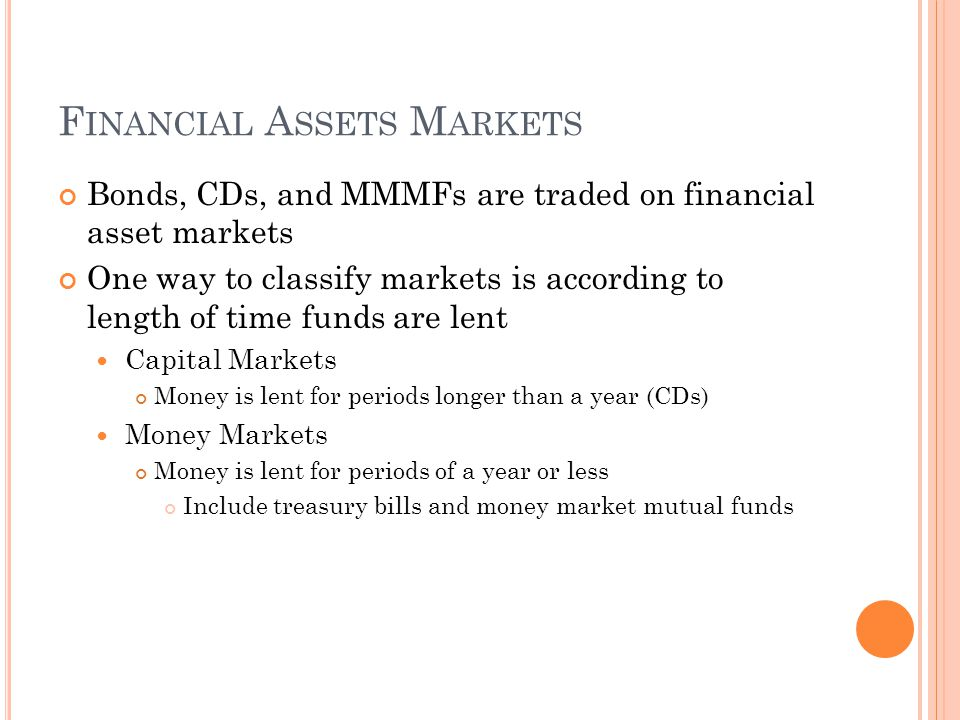 F INANCIAL A SSETS M ARKETS Bonds, CDs, and MMMFs are traded on financial asset markets One way to classify markets is according to length of time funds are lent Capital Markets Money is lent for periods longer than a year (CDs) Money Markets Money is lent for periods of a year or less Include treasury bills and money market mutual funds