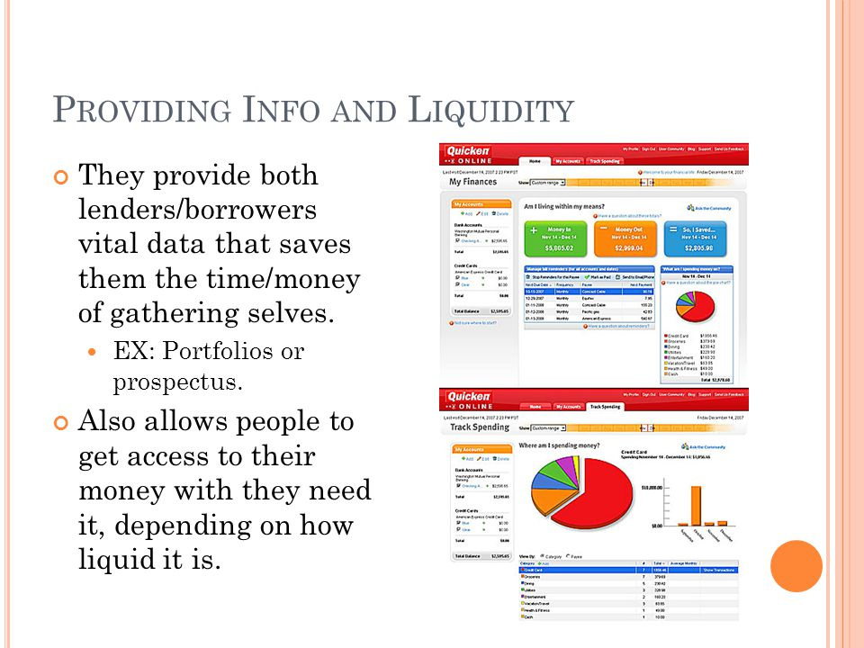 P ROVIDING I NFO AND L IQUIDITY They provide both lenders/borrowers vital data that saves them the time/money of gathering selves.