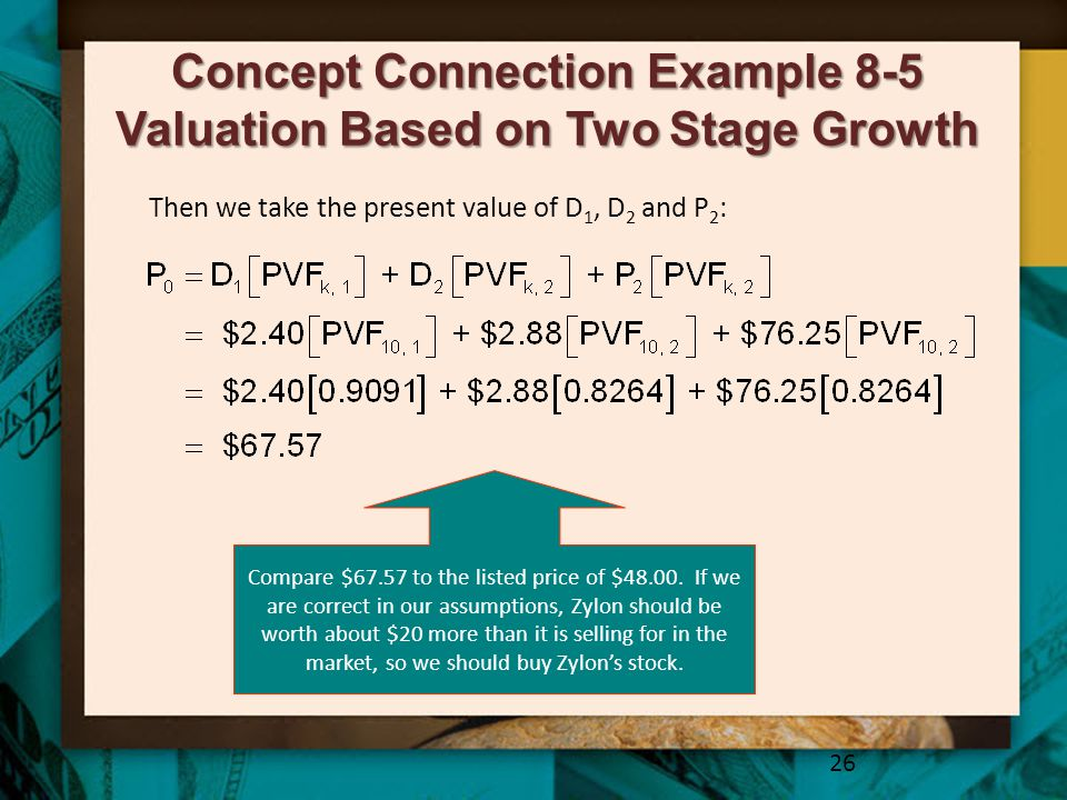 Concept Connection Example 8-5 Valuation Based on Two Stage Growth 26 Then we take the present value of D 1, D 2 and P 2 : Compare $67.57 to the liste