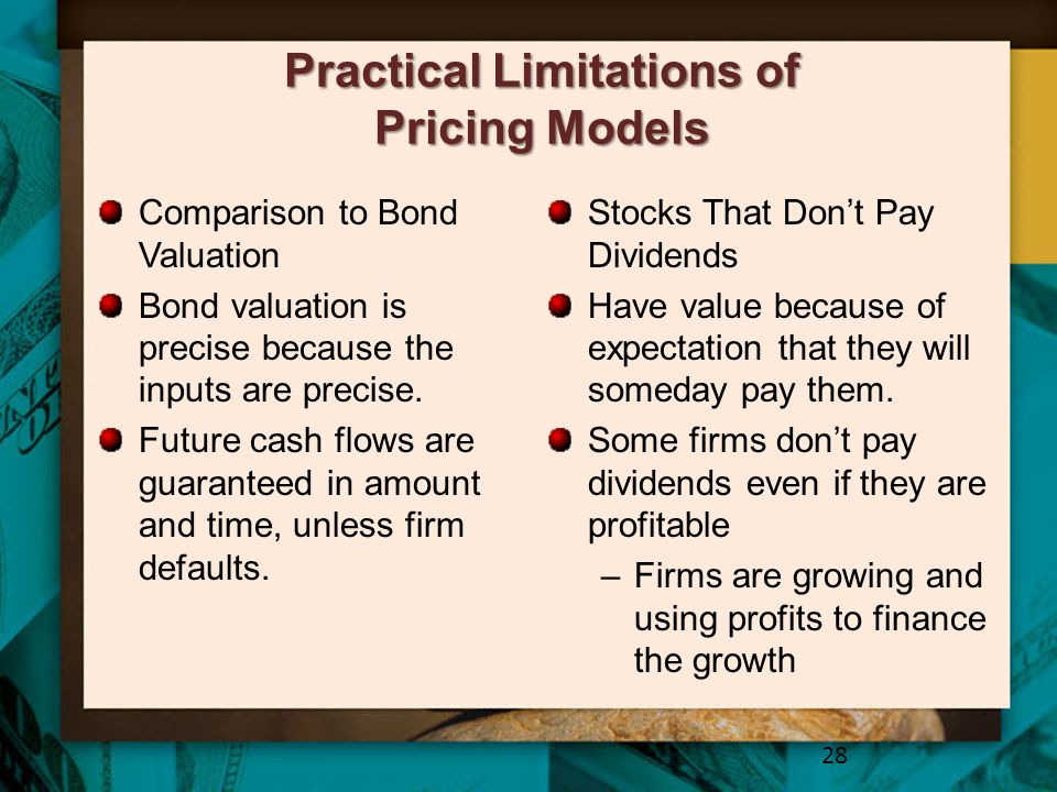 Practical Limitations of Pricing Models Comparison to Bond Valuation Bond valuation is precise because the inputs are precise. Future cash flows are g