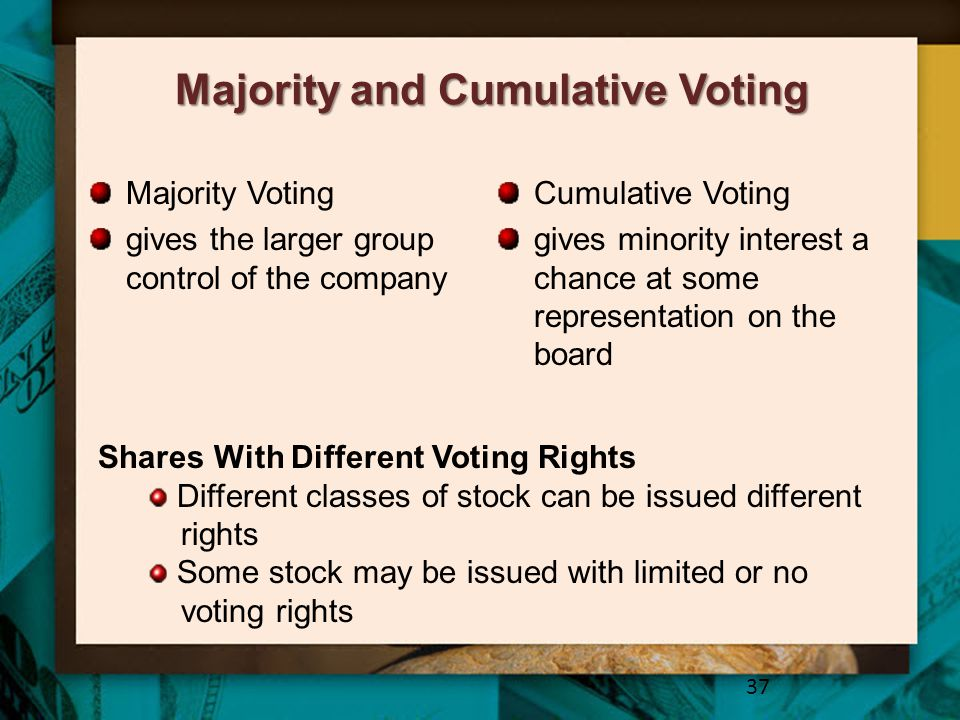Majority and Cumulative Voting Majority Voting gives the larger group control of the company Cumulative Voting gives minority interest a chance at som