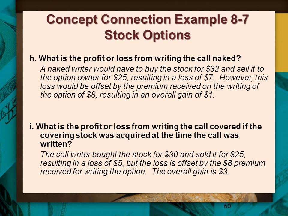 Concept Connection Example 8-7 Stock Options 60 h. What is the profit or loss from writing the call naked? A naked writer would have to buy the stock