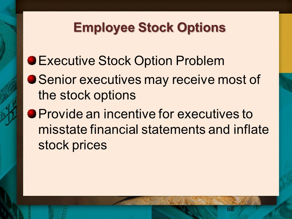 Employee Stock Options Executive Stock Option Problem Senior executives may receive most of the stock options Provide an incentive for executives to m