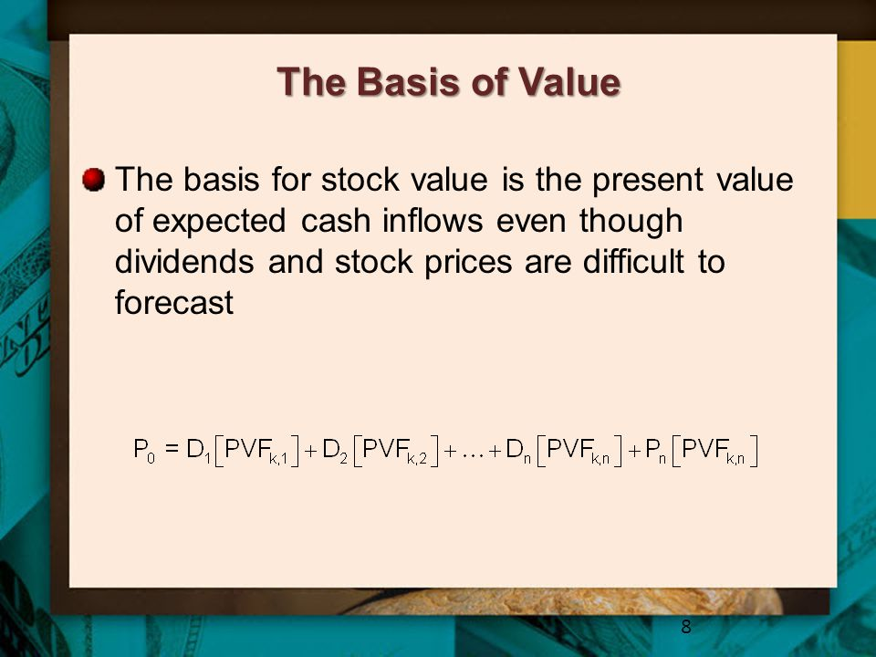 The Expected Return Recast Gordon model to focus on the return (k) implied by the constant growth assumption 19 The expected return reflects investors' knowledge of a company If we know D 0 (most recent dividend paid) and P 0 (current actual stock price), investors' expectations are input via the growth rate assumption