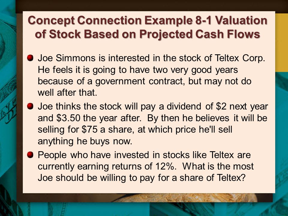Two Stage Growth At times, a firm's future growth may not be expected to be constant –A new product may lead to temporary high growth The two-stage growth model values a stock that is expected to grow at an unusual rate for a limited time –Use the Gordon model to value the constant portion –Find the present value of the non-constant growth periods 20