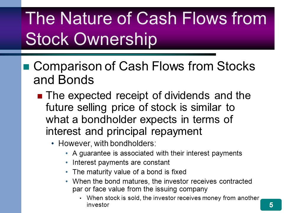 5 The Nature of Cash Flows from Stock Ownership Comparison of Cash Flows from Stocks and Bonds The expected receipt of dividends and the future selling price of stock is similar to what a bondholder expects in terms of interest and principal repayment However, with bondholders: A guarantee is associated with their interest payments Interest payments are constant The maturity value of a bond is fixed When the bond matures, the investor receives contracted par or face value from the issuing company When stock is sold, the investor receives money from another investor