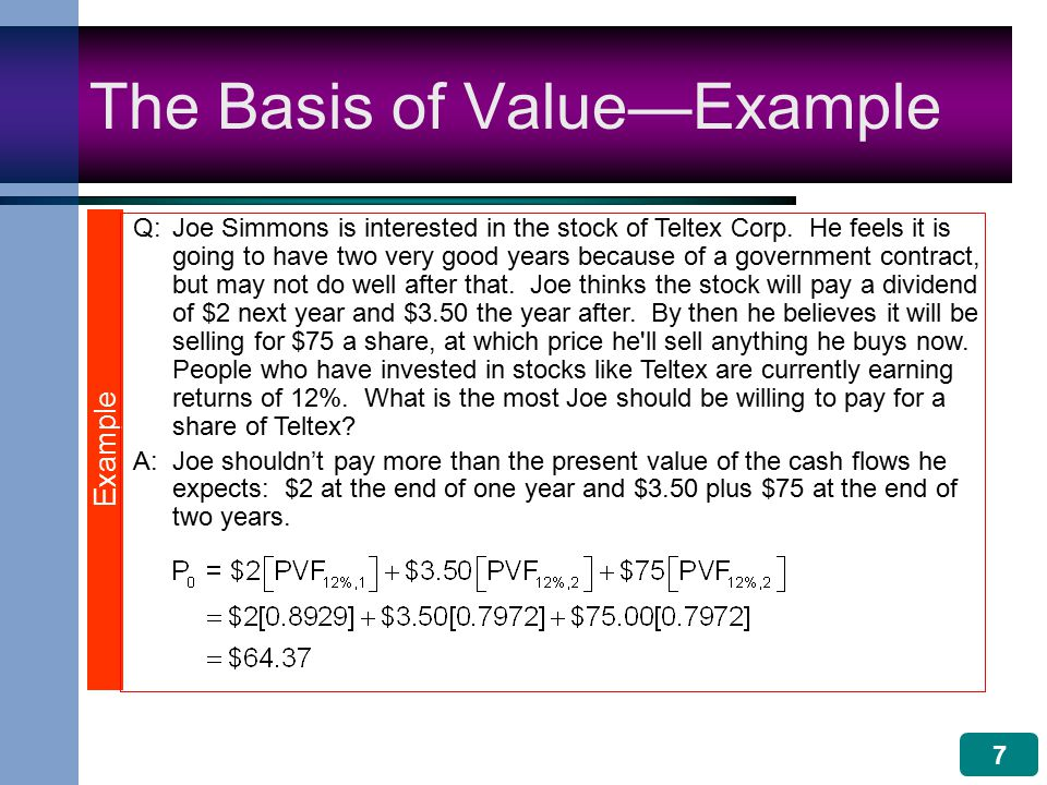 7 The Basis of Value—Example Q:Joe Simmons is interested in the stock of Teltex Corp.