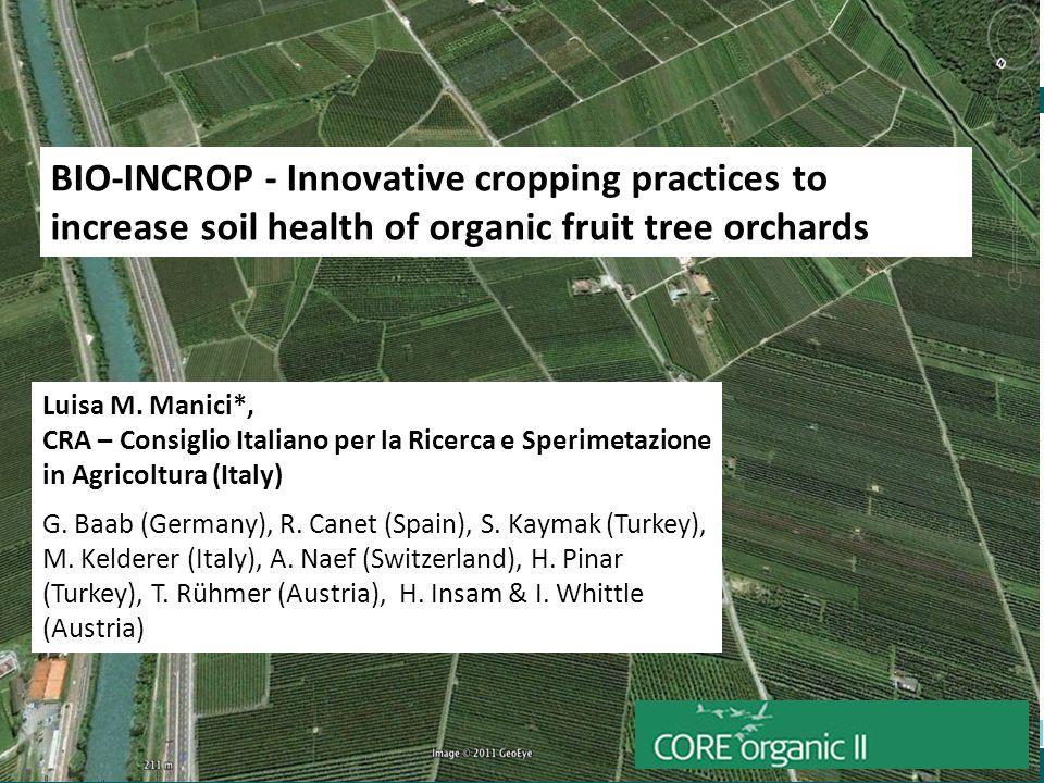 COII Amterdam 15 May 2013 Luisa M. Manici*, CRA – Consiglio Italiano per la Ricerca e Sperimetazione in Agricoltura (Italy) G. Baab (Germany), R. Cane