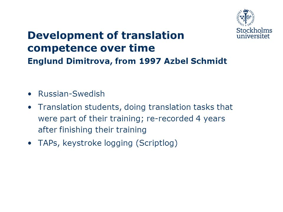 Development of translation competence over time Englund Dimitrova, from 1997 Azbel Schmidt Russian-Swedish Translation students, doing translation tasks that were part of their training; re-recorded 4 years after finishing their training TAPs, keystroke logging (Scriptlog)