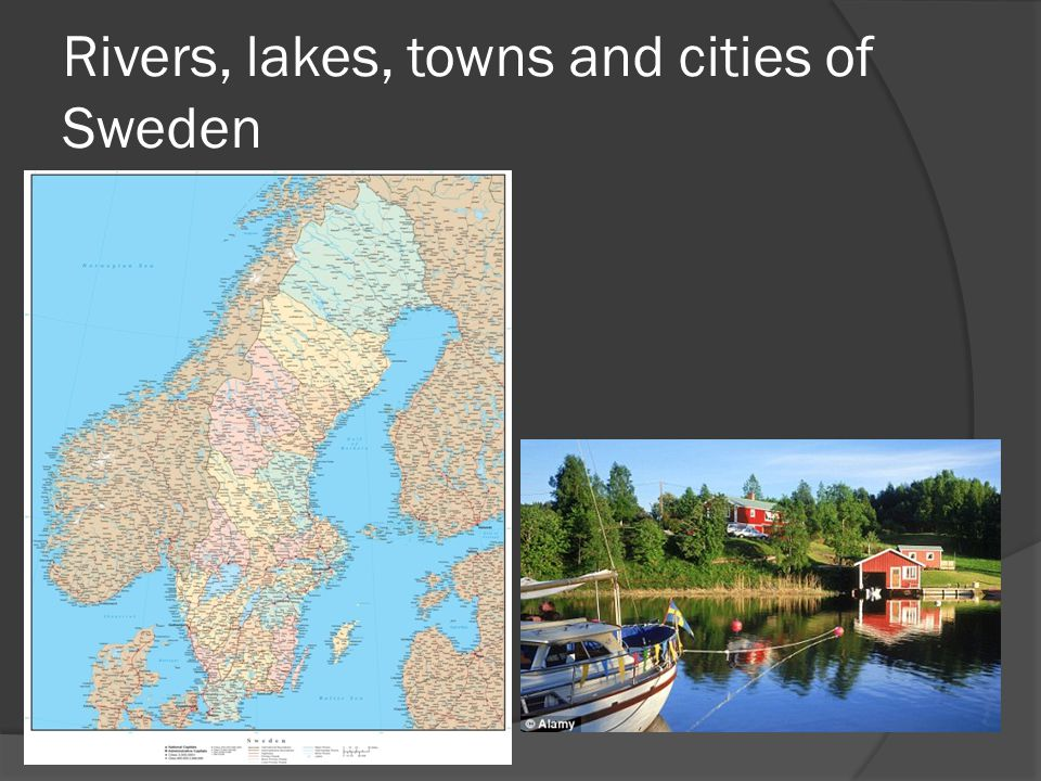 Rivers, lakes, towns and cities of Sweden