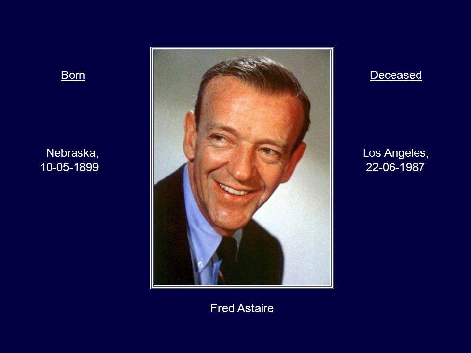 Frank Sinatra New Jersey, 12-12-1915 Los Angeles, 14-05-1998 BornDeceased