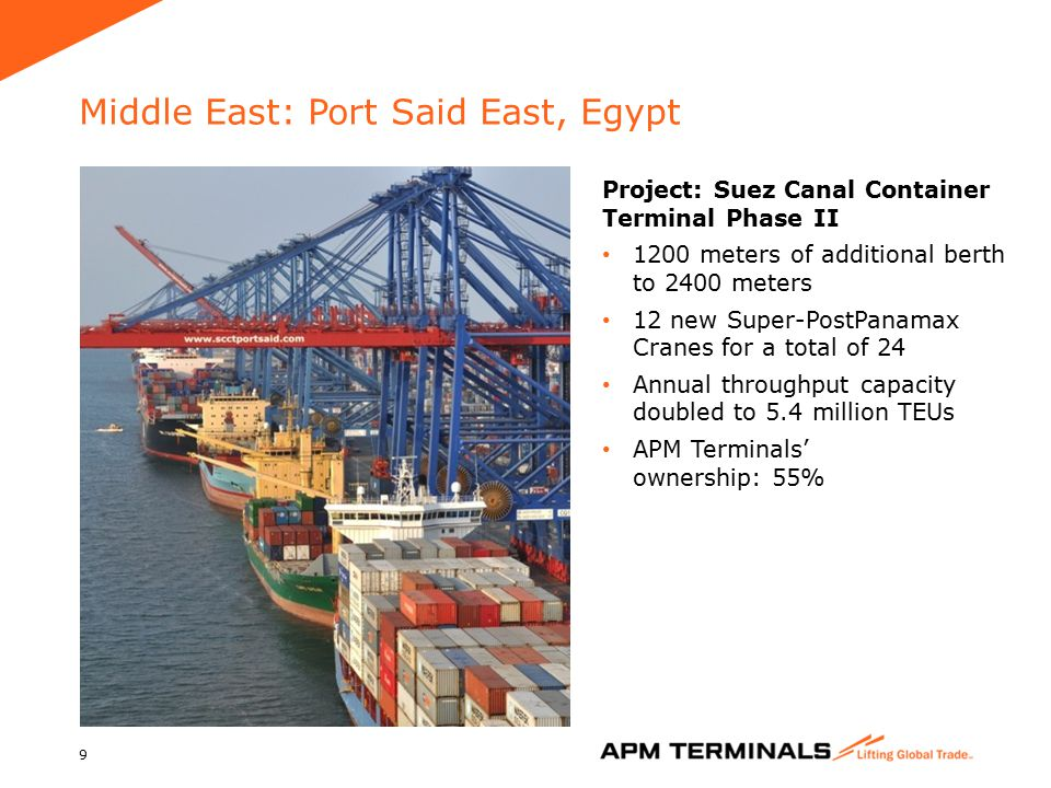 Middle East: Port Said East, Egypt 9 Project: Suez Canal Container Terminal Phase II 1200 meters of additional berth to 2400 meters 12 new Super-PostPanamax Cranes for a total of 24 Annual throughput capacity doubled to 5.4 million TEUs APM Terminals' ownership: 55%