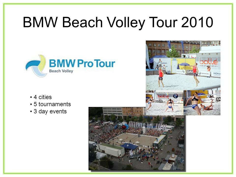 BMW Beach Volley Tour 2010 4 cities 5 tournaments 3 day events