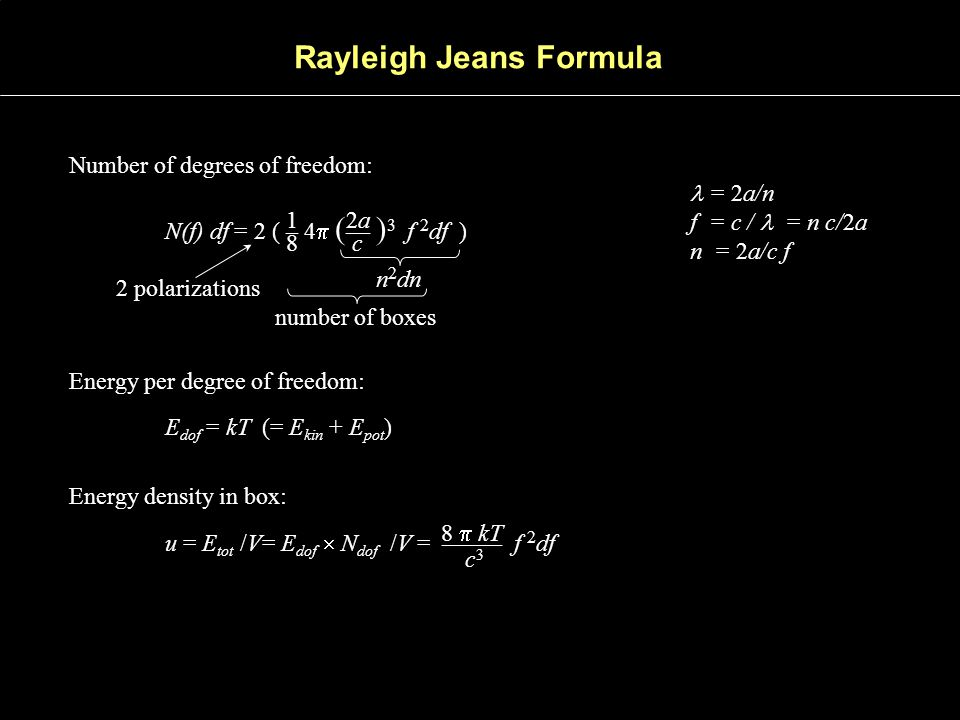Rayleigh Jeans Formula Number of degrees of freedom: N(f) df = 2 ( – 4  ( –– ) 3 f 2 df ) 1 2a 8 c n 2 dn 2 polarizations number of boxes Energy per