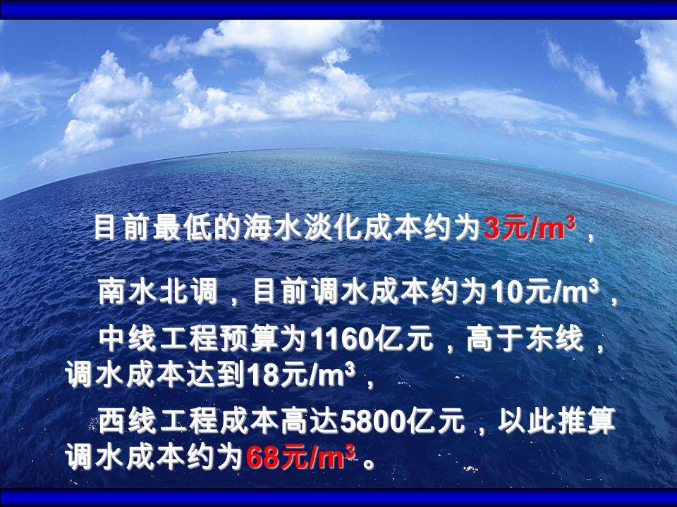 南水北调,目前调水成本约为 10 元 /m 3 , 南水北调,目前调水成本约为 10 元 /m 3 , 中线工程预算为 1160 亿元,高于东线, 调水成本达到 18 元 /m 3 , 中线工程预算为 1160 亿元,高于东线, 调水成本达到 18 元 /m 3 , 西线工程成本高达 5800 亿元