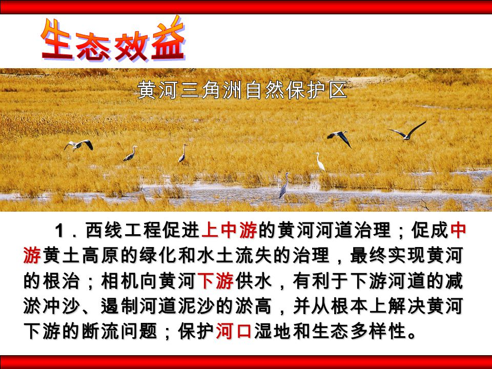 1 .西线工程促进上中游的黄河河道治理;促成中 游黄土高原的绿化和水土流失的治理,最终实现黄河 的根治;相机向黄河下游供水,有利于下游河道的减 淤冲沙、遏制河道泥沙的淤高,并从根本上解决黄河 下游的断流问题;保护河口湿地和生态多样性。 1 .西线工程促进上中游的黄河河道治理;促成中 游黄土高原的绿化