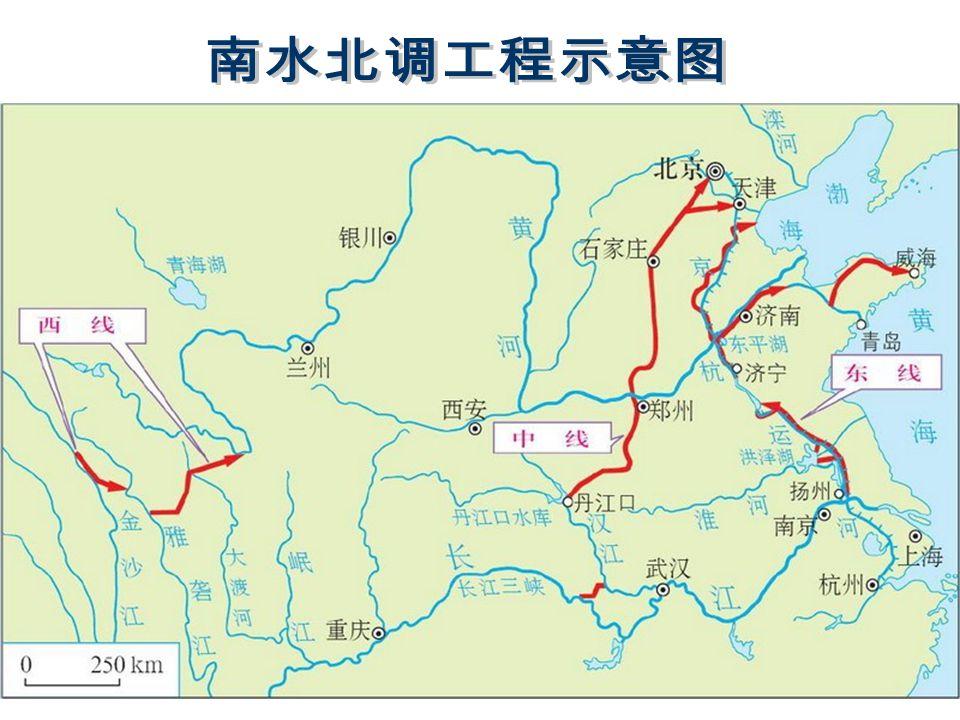 从长江下游扬州抽引 长江水,利用京杭大运河 及与其平行的河道逐级提 水北送,并连接起调蓄作 用的洪泽湖、骆马湖、南 四湖、东平湖。出东平湖 后分两路输水:一路向北, 在位山附近经隧洞穿过黄 河;另一路向东,通过胶 东地区输水干线经济南输 水到烟台、威海。 从长江下游扬州抽引 长江水,利用京杭大运河 及与其平行的河道逐级提 水北送,并连接起调蓄作 用的洪泽湖、骆马湖、南 四湖、东平湖。出东平湖 后分两路输水:一路向北, 在位山附近经隧洞穿过黄 河;另一路向东,通过胶 东地区输水干线经济南输 水到烟台、威海。 东线工程开工最早, 并且有现成输水道。 东线工程开工最早, 并且有现成输水道。扬州 东平湖 烟台威海 天津 天津