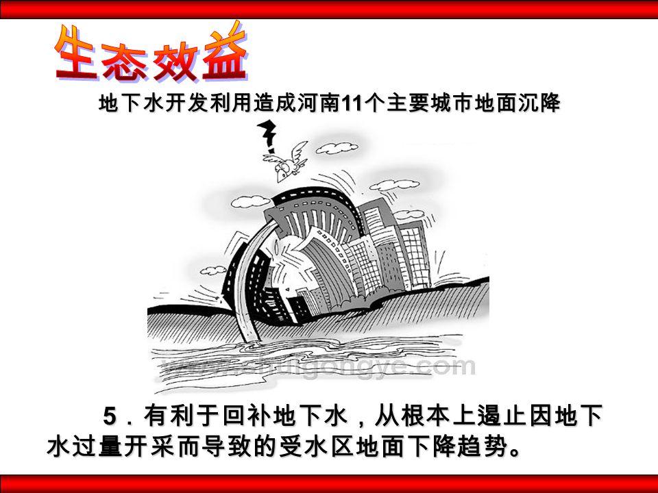 5.有利于回补地下水,从根本上遏止因地下 水过量开采而导致的受水区地面下降趋势。 地下水开发利用造成河南 11 个主要城市地面沉降