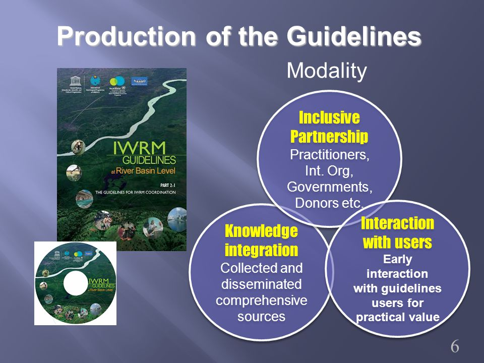 Part 1 Principles Part 2 Implementation Structure of the IWRM Guidelines Decision Maker Policy Planner Government Official River Basin Organization Government Official NGO River Basin Organization Other Stakeholder Part2-1 IWRM Coordination Part2-2 Flood Management Part2-3 Invitation for Irrigation practitioners Part1 Principles Launched at 5 th World Water Forum Target Group 7 Part2-4 The Guidelines for Managing Environmental Sustainability Part2-4 The Guidelines for Managing Environmental Sustainability Message on Adaptation to Climate Change