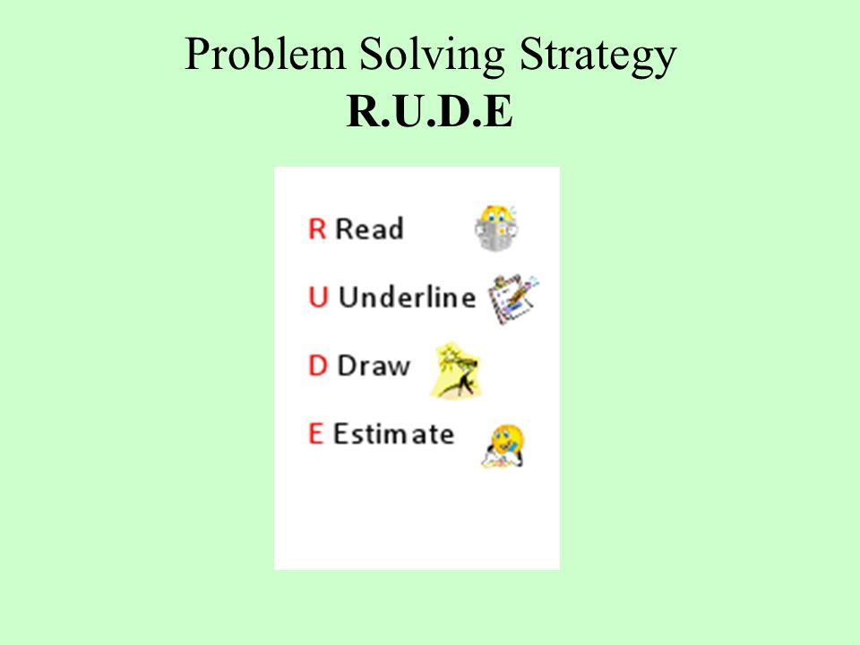 Problem Solving Strategy R.U.D.E