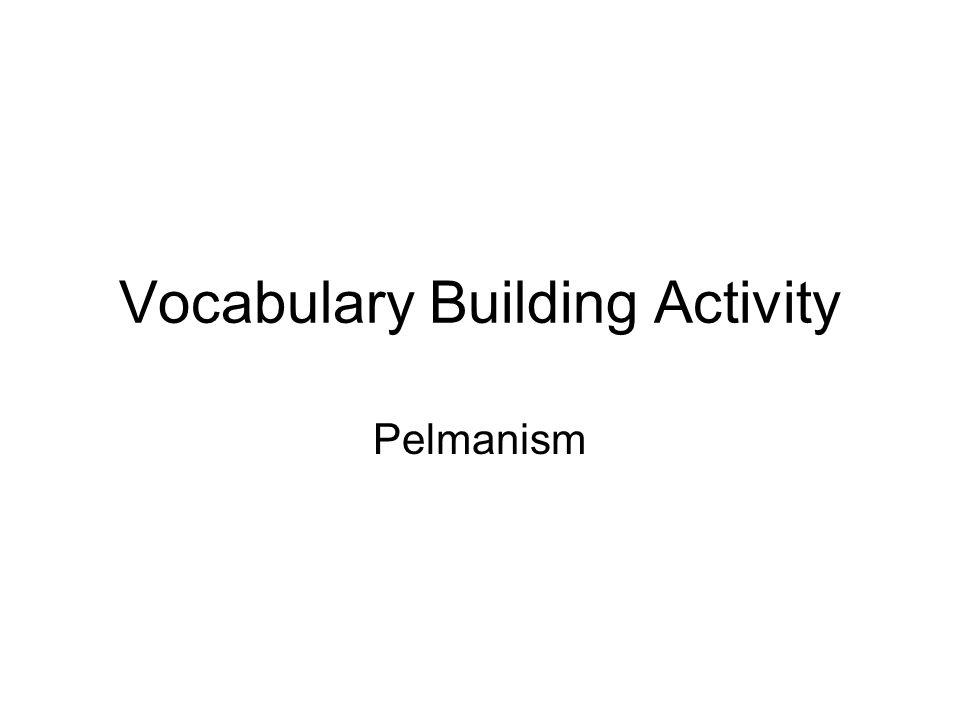 Vocabulary Building Activity Pelmanism