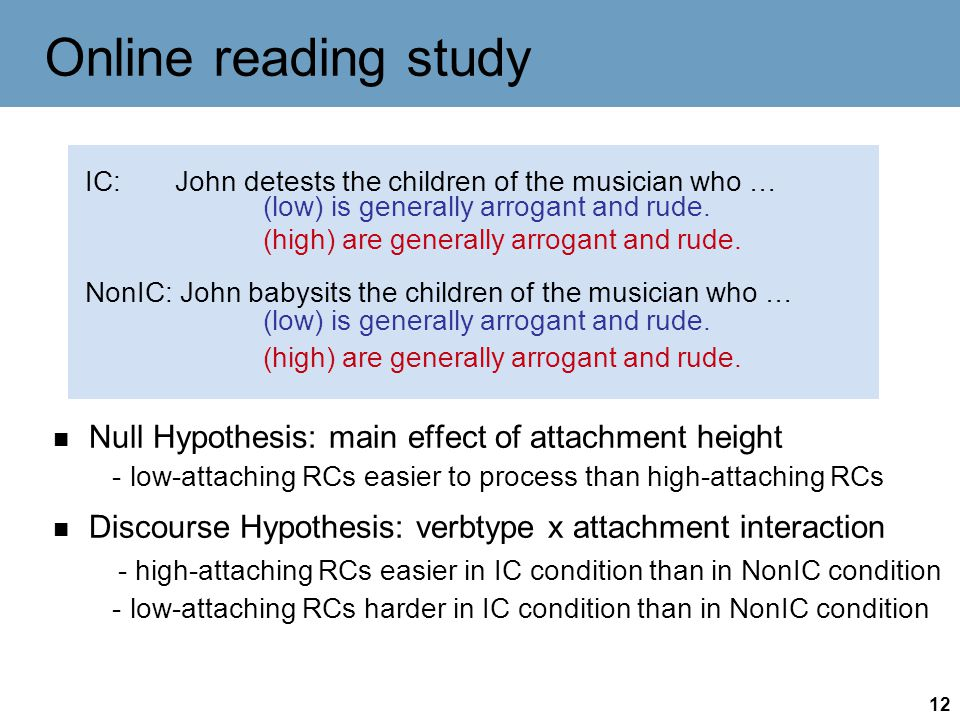 12 Online reading study Null Hypothesis: main effect of attachment height - low-attaching RCs easier to process than high-attaching RCs Discourse Hypothesis: verbtype x attachment interaction - high-attaching RCs easier in IC condition than in NonIC condition - low-attaching RCs harder in IC condition than in NonIC condition IC: John detests the children of the musician who … NonIC: John babysits the children of the musician who … (low) is generally arrogant and rude.