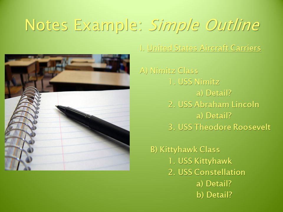 Notes Example: Cornell Method Note Taking space: Record lecture notes as fully and as meaningfully as possible.