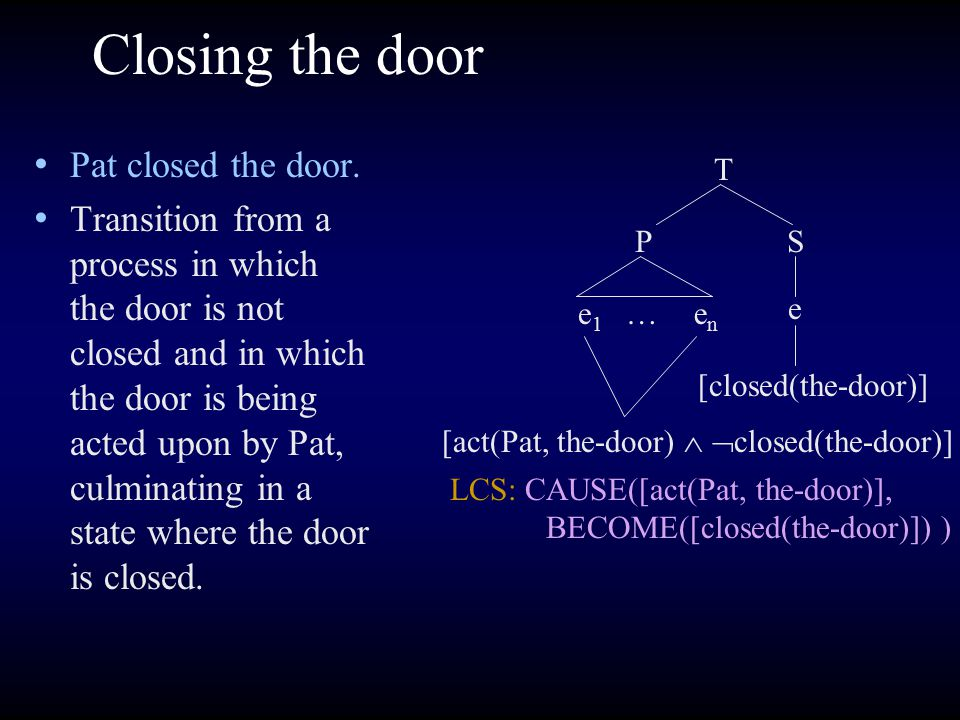 Closing the door Pat closed the door. Transition from a process in which the door is not closed and in which the door is being acted upon by Pat, culm