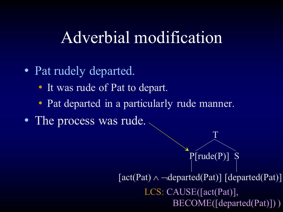 Adverbial modification Pat rudely departed. It was rude of Pat to depart.