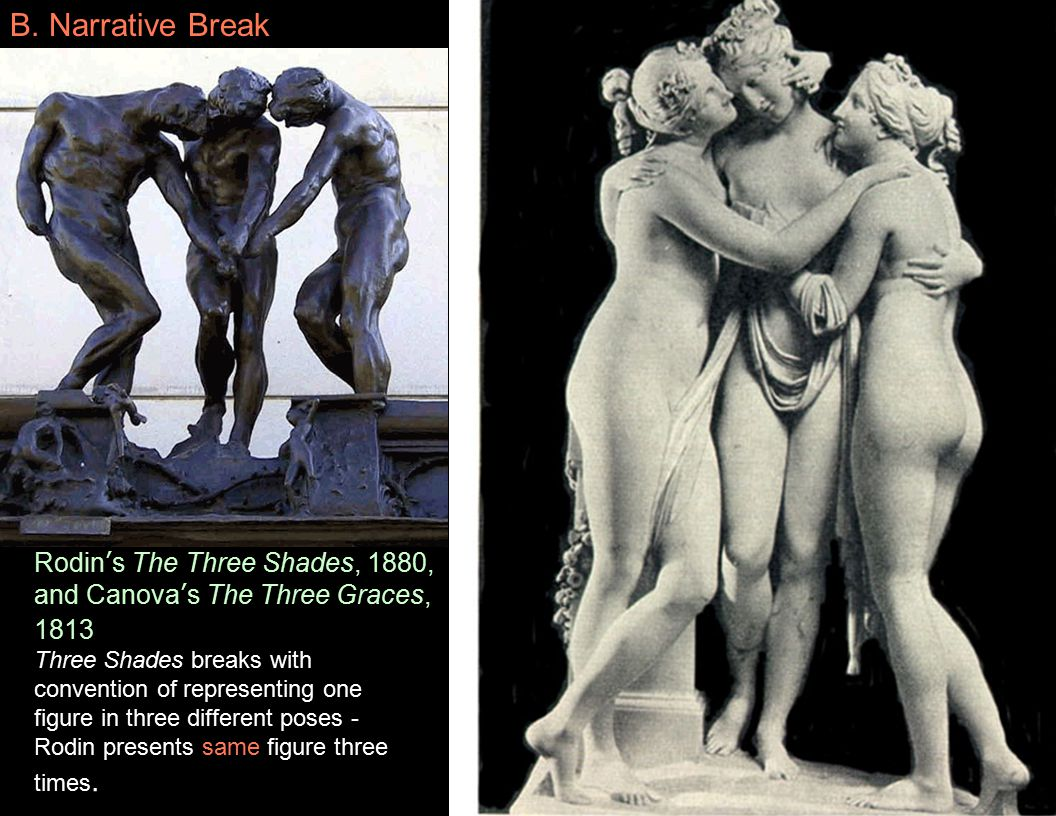 Rodin's The Three Shades, 1880, and Canova's The Three Graces, 1813 Three Shades breaks with convention of representing one figure in three different poses - Rodin presents same figure three times.