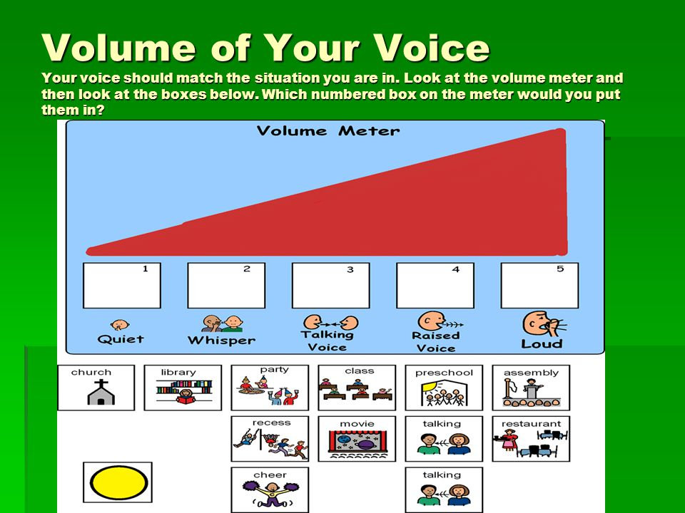 Volume of Your Voice Your voice should match the situation you are in. Look at the volume meter and then look at the boxes below. Which numbered box o