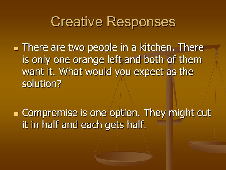 Creative Responses There are two people in a kitchen.
