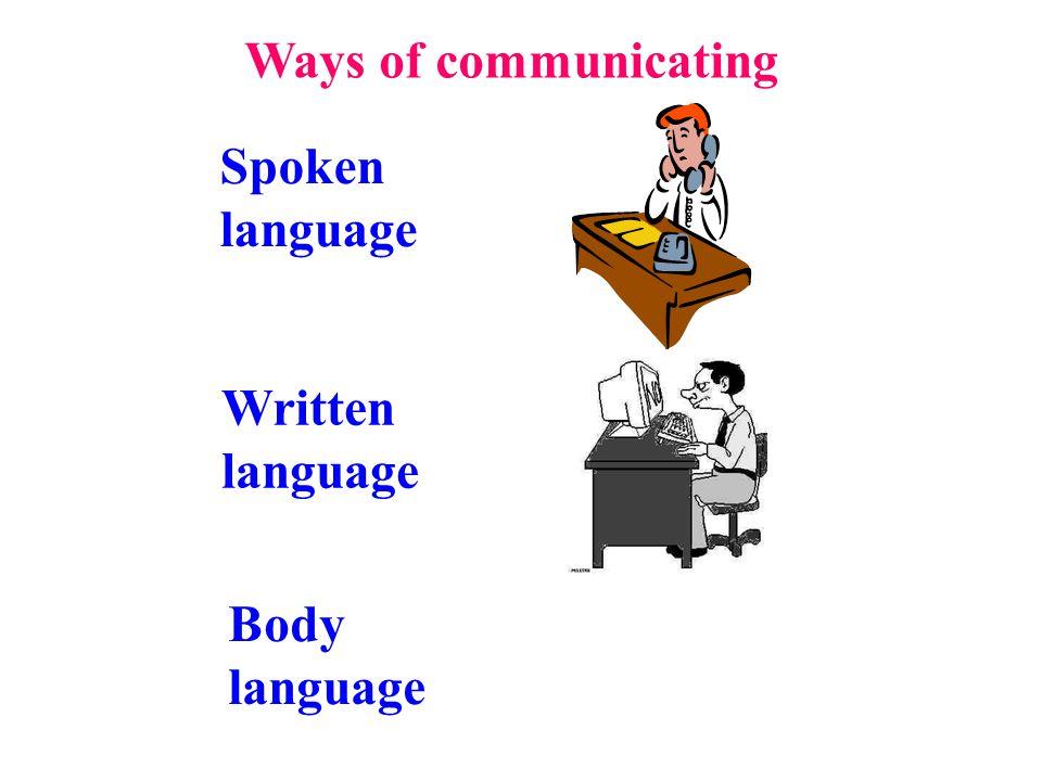 Spoken language Written language Body language Ways of communicating