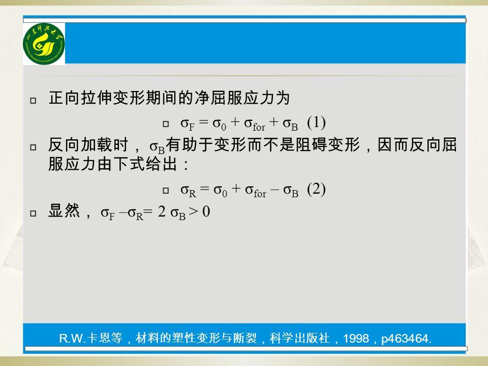  正向拉伸变形期间的净屈服应力为  σ F = σ 0 + σ for + σ B (1)  反向加载时, σ B 有助于变形而不是阻碍变形,因而反向屈 服应力由下式给出:  σ R = σ 0 + σ for – σ B (2)  显然, σ F –σ R = 2 σ B > 0 R.W