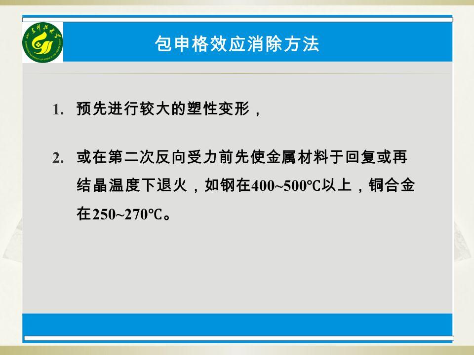 包申格效应消除方法 1. 预先进行较大的塑性变形, 2. 或在第二次反向受力前先使金属材料于回复或再 结晶温度下退火,如钢在 400~500 ℃以上,铜合金 在 250~270 ℃。