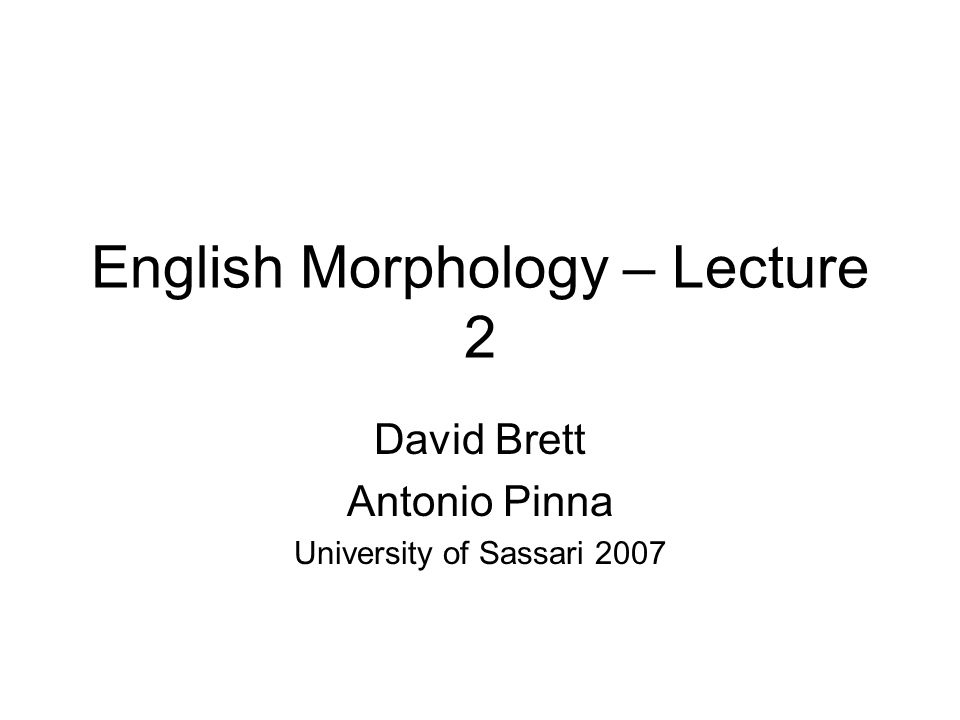 English Morphology – Lecture 2 David Brett Antonio Pinna University of Sassari 2007