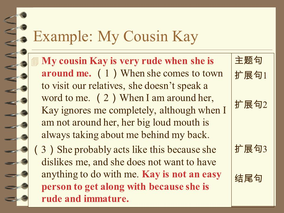 Topic Sentence Topic + controlling idea ( 主题 + 段意) 4 Topic My cousin Kay People take part in sports Traffic is 4 Controlling idea is very rude when she is around me.
