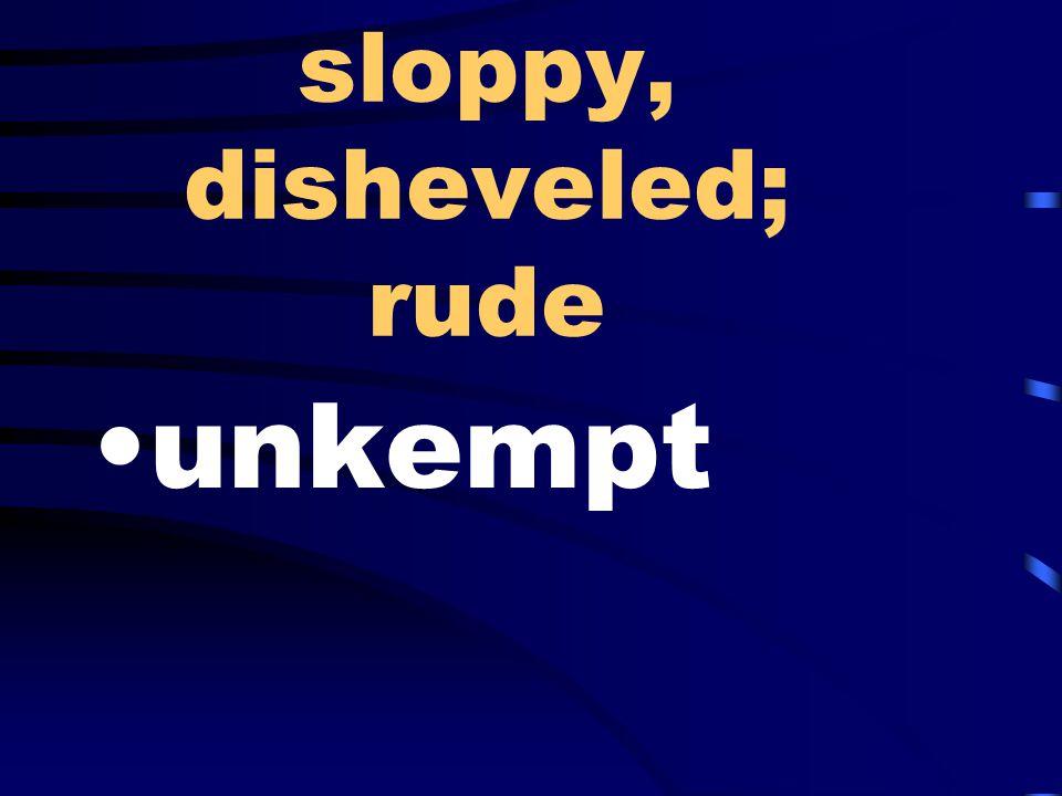 sloppy, disheveled; rude unkempt
