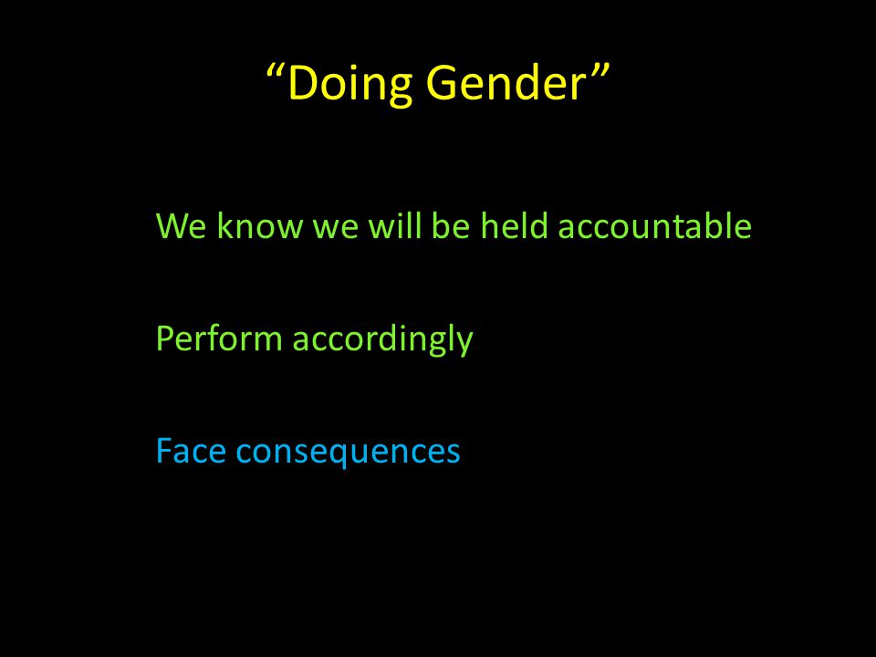 """Doing Gender"" We know we will be held accountable Perform accordingly Face consequences"