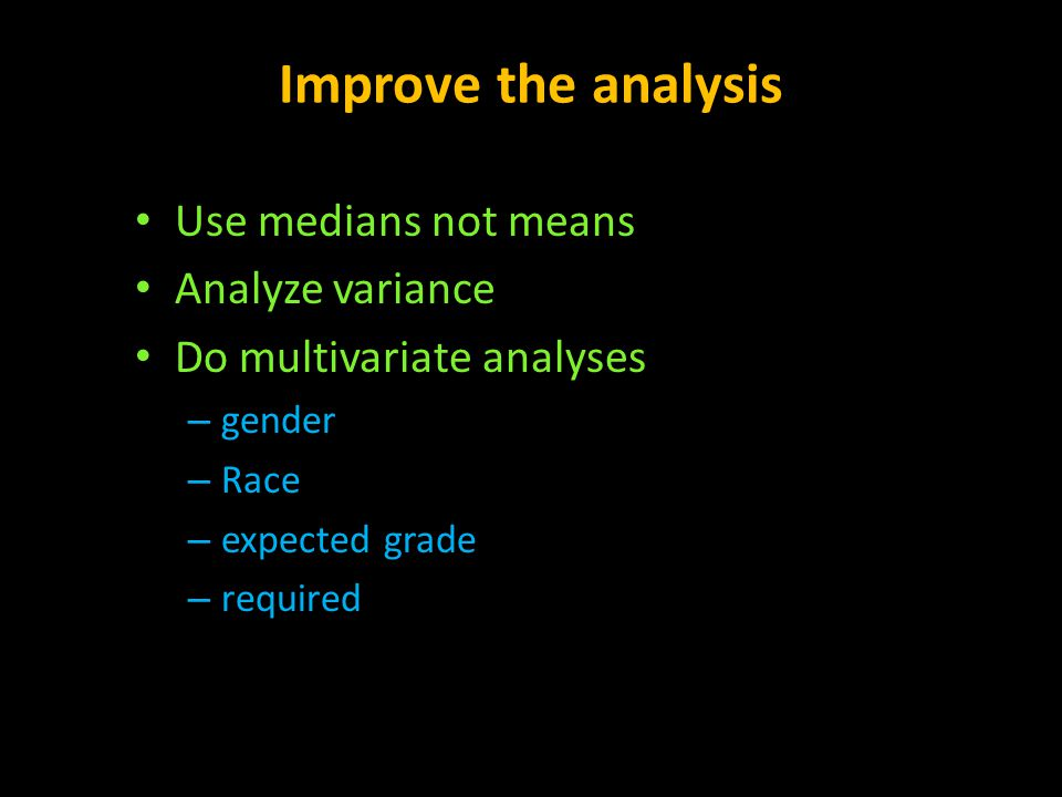 Improve the analysis Use medians not means Analyze variance Do multivariate analyses – gender – Race – expected grade – required