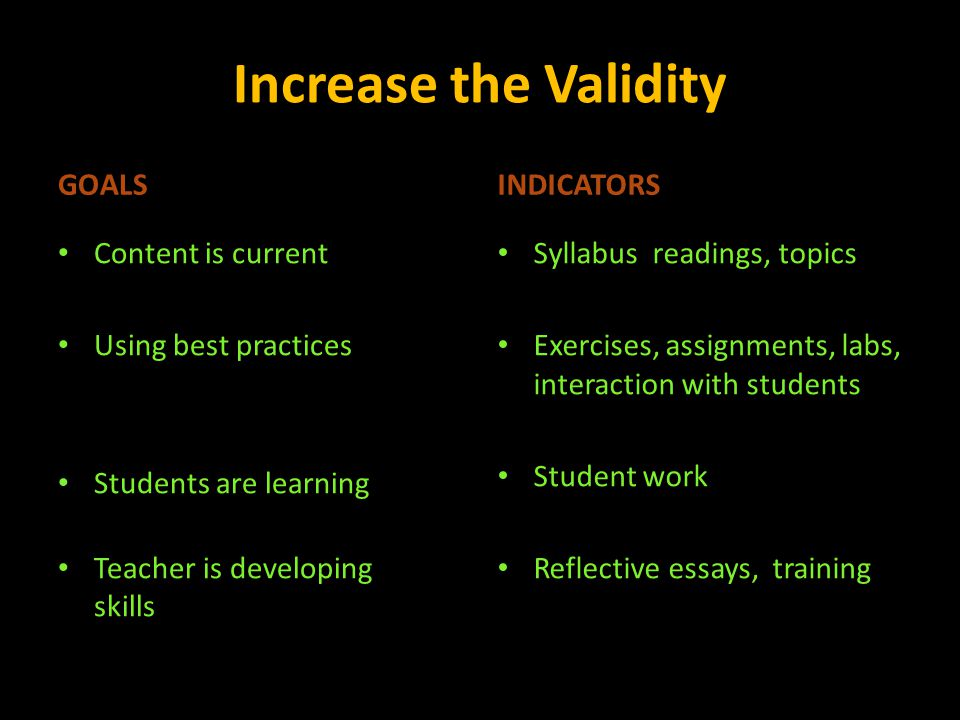 Increase the Validity GOALS Content is current Using best practices Students are learning Teacher is developing skills INDICATORS Syllabus readings, t