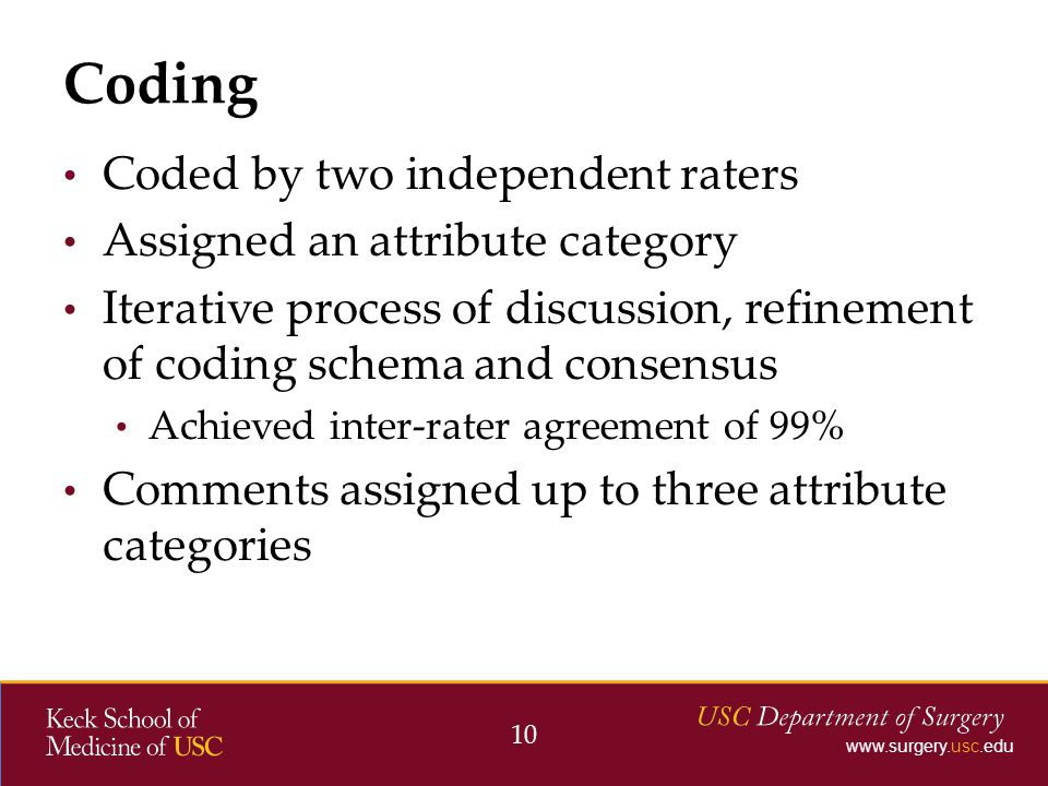 www.surgery.usc.edu Coded by two independent raters Assigned an attribute category Iterative process of discussion, refinement of coding schema and consensus Achieved inter-rater agreement of 99% Comments assigned up to three attribute categories Coding 10