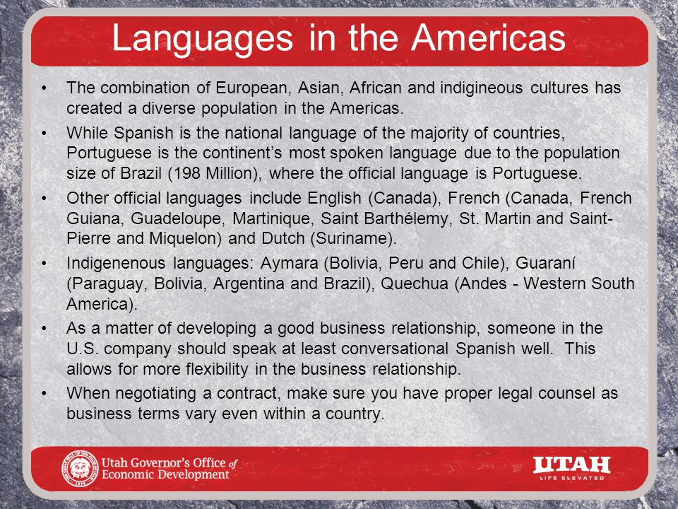 Languages in the Americas The combination of European, Asian, African and indigineous cultures has created a diverse population in the Americas.