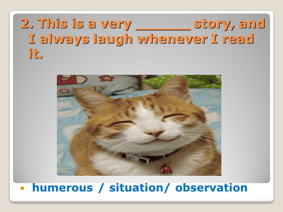 2. This is a very ______ story, and I always laugh whenever I read it. humerous / situation/ observation