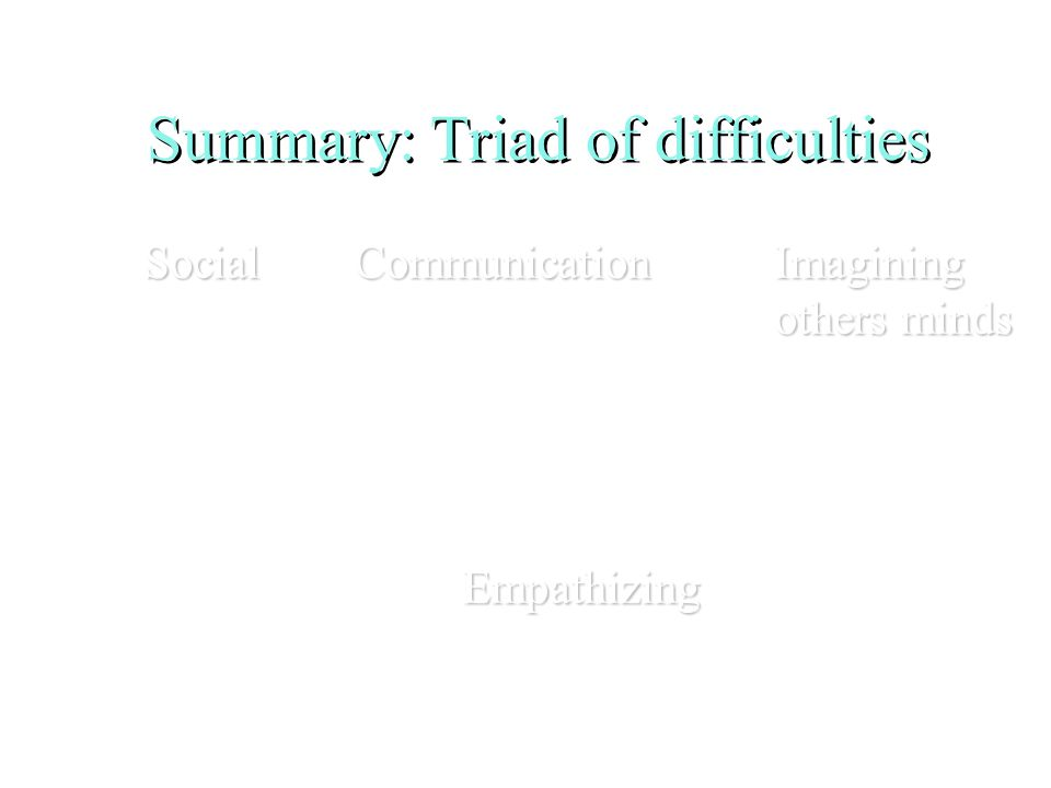 Summary: Triad of difficulties SocialCommunicationImagining others minds Empathizing