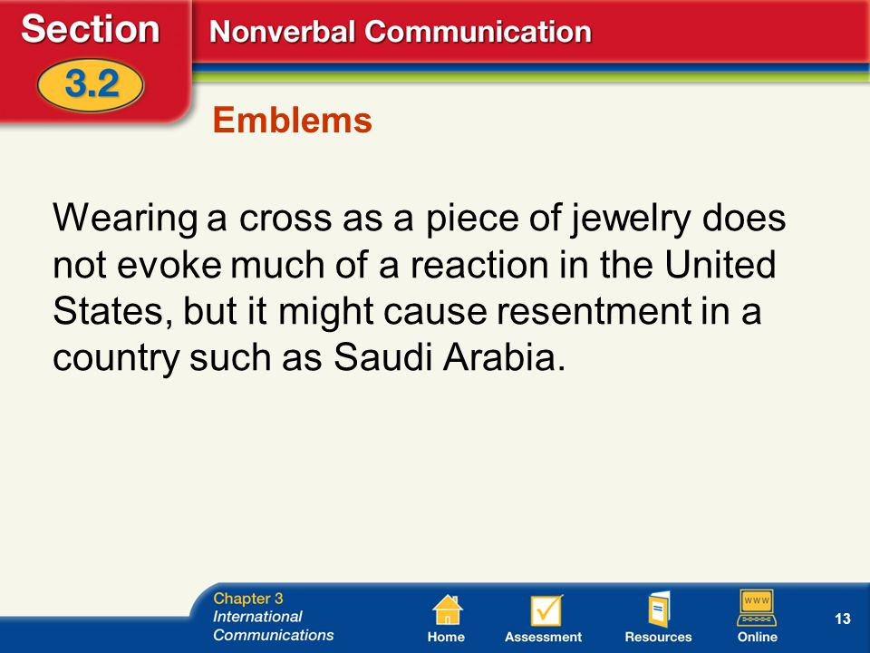 13 Emblems Wearing a cross as a piece of jewelry does not evoke much of a reaction in the United States, but it might cause resentment in a country such as Saudi Arabia.